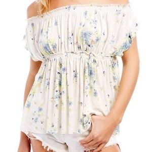 FREE PEOPLE Sam Off the Shoulder Floral Top